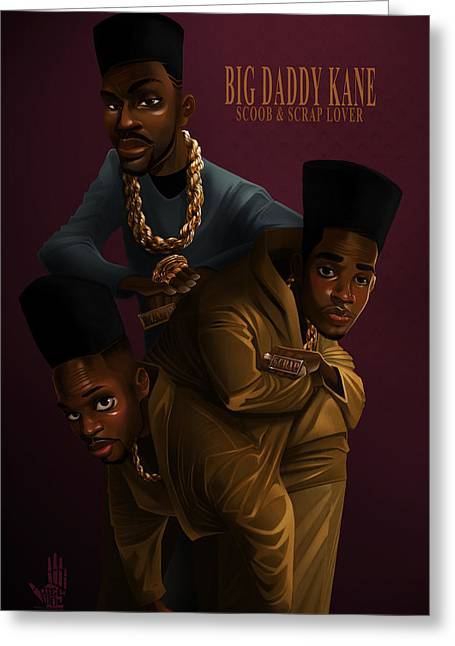 Big Daddy Kane Greeting Cards - BDK Color bg Greeting Card by Nelson Dedos Garcia