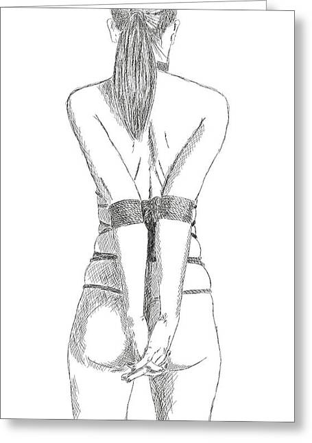 Bondage Drawings Greeting Cards - BDSM SM Bondage drawing Greeting Card by Michael Kuelbel