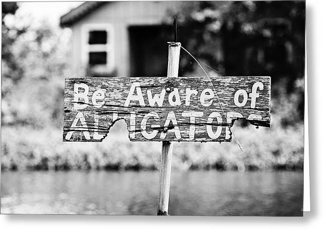 Warning Sign Greeting Cards - Be Aware of Alligators Greeting Card by Scott Pellegrin