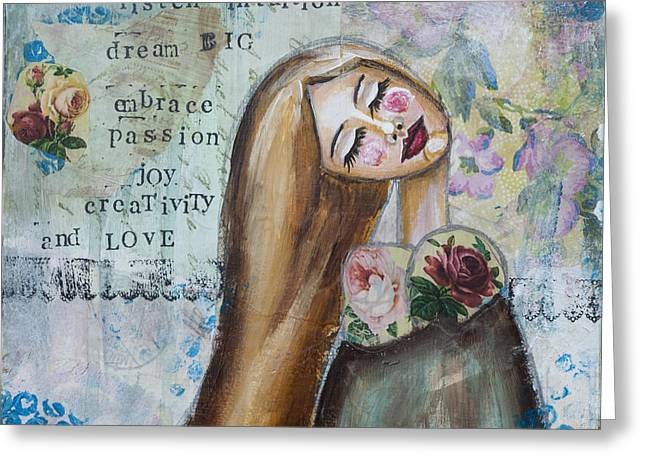 Discovery Mixed Media Greeting Cards - Be Brave Inspirational Mixed Media Folk Art Greeting Card by Stanka Vukelic