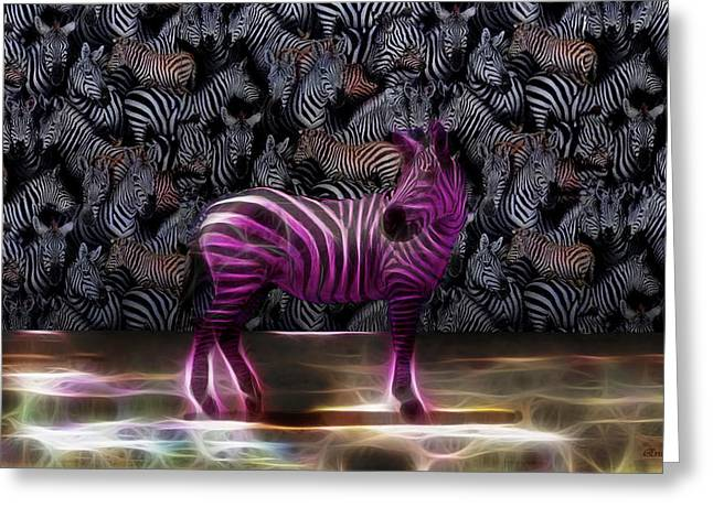 Tn Digital Art Greeting Cards - Be Courageous - Be Different - Zebra Greeting Card by EricaMaxine  Price