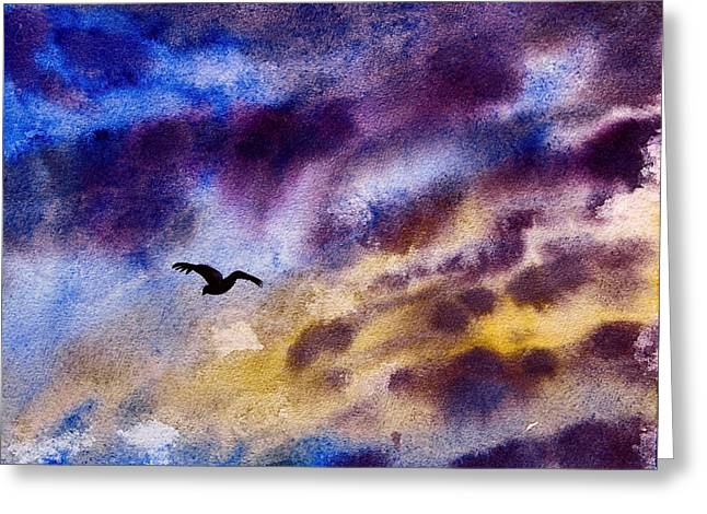 Fly Like An Eagle Greeting Cards - Be Free Painting Greeting Card by Janet Pancho Gupta