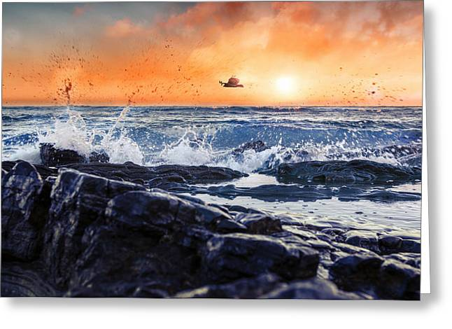 Sunset Seascape Reliefs Greeting Cards - Be Free Greeting Card by Sami Matar
