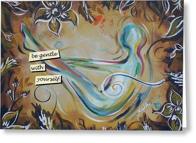Solar Plexus Chakra Greeting Cards - Be Gentle Greeting Card by Noelle Rollins