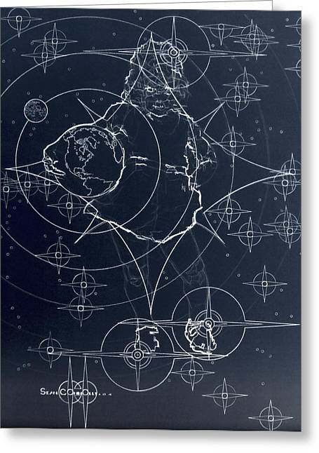 Constellations Drawings Greeting Cards - Be Good Greeting Card by Sean Connolly