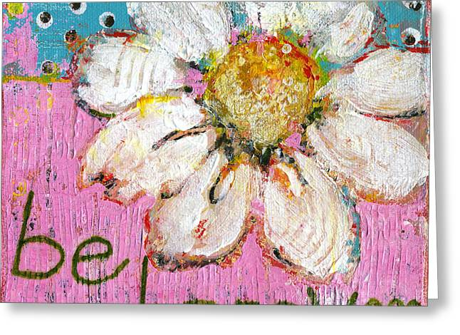 Happy Child Greeting Cards - Be Happy Daisy Flower Painting Greeting Card by Blenda Studio