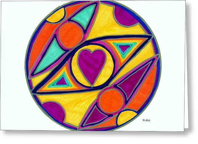 Hearts Greeting Cards - Be in the Center of Love Greeting Card by Kaia Lyngroth