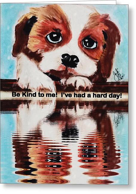 Puppies Pastels Greeting Cards - Be Kind to Me - Puppy Print Greeting Card by Julie Hollis