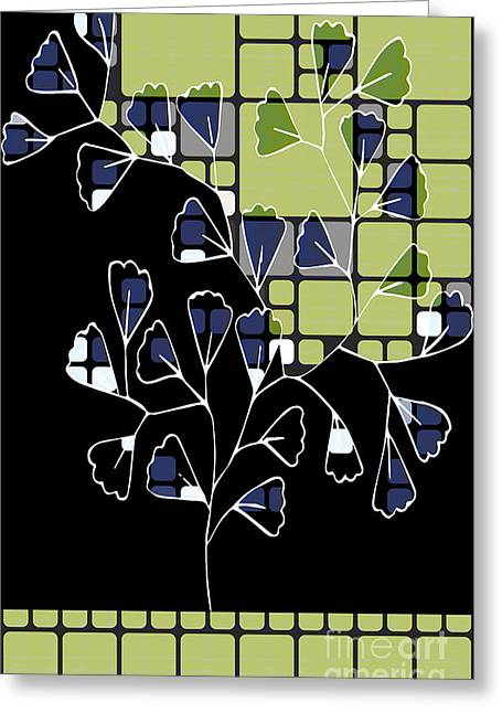 Dark Blue Green Greeting Cards - Be-Leaf - Green 02ab03 Greeting Card by Variance Collections