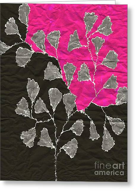 Tricolored Greeting Cards - Be-Leaf - Pink 03-01at4 Greeting Card by Variance Collections