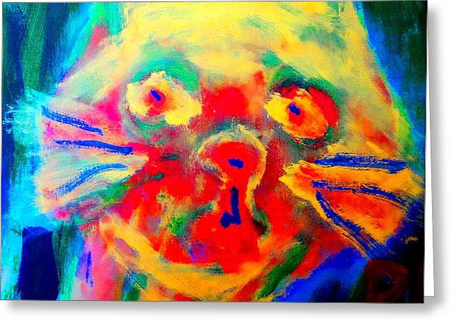 Mental Process Paintings Greeting Cards - Be my kitten  Greeting Card by Hilde Widerberg