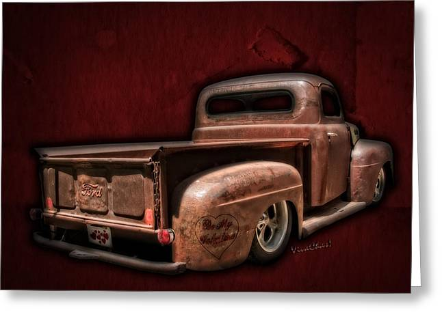 Cha-am Greeting Cards - Be My Valentine on the Rat Rod of Love Greeting Card by Chas Sinklier
