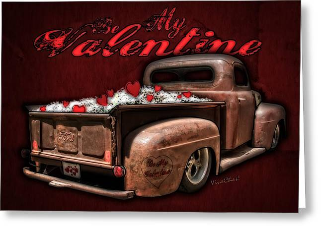 Cha-am Greeting Cards - Be My Valentine with Hearts and Flowers Greeting Card by Chas Sinklier