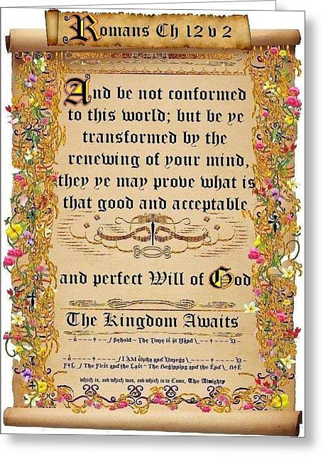 Calligraphy Print Digital Art Greeting Cards - Be not conformed to this world Greeting Card by Stephen Kovacs