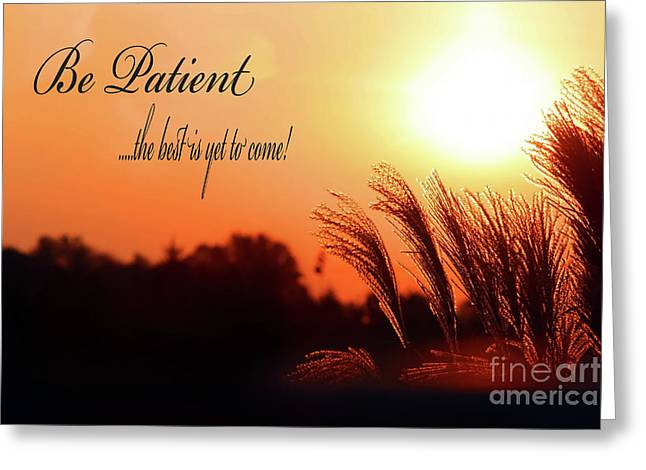 Virtuous Greeting Cards - Be Patient Greeting Card by Cathy  Beharriell