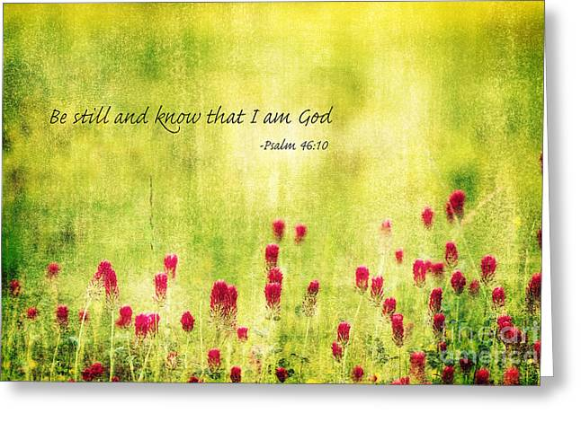 Be Still And Know That I Am God Greeting Card by Scott Pellegrin