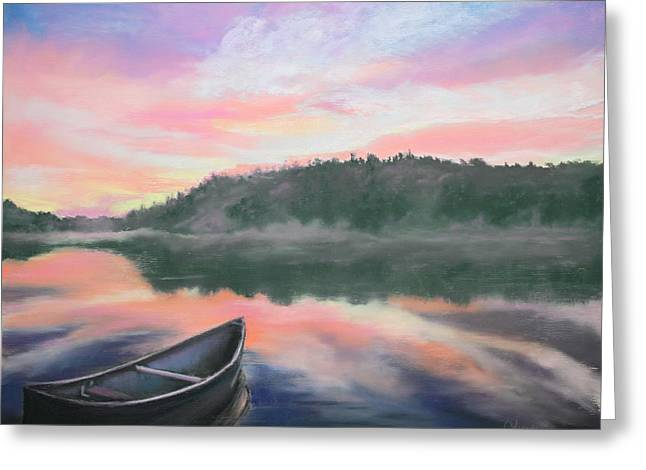 Canoe Pastels Greeting Cards - Be Still  Greeting Card by Cathy Weaver