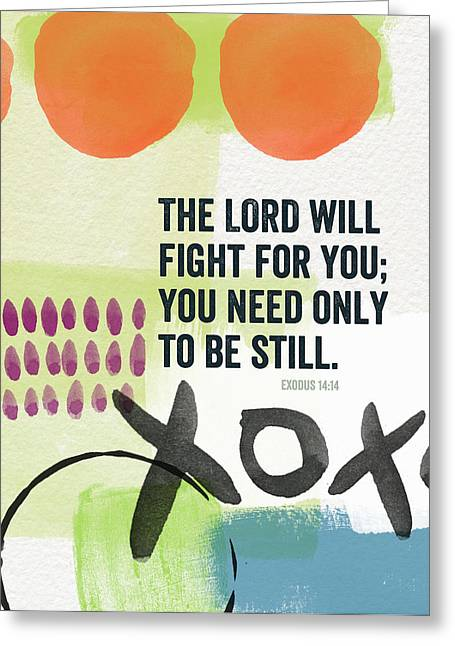Scripture Mixed Media Greeting Cards - Be Still- Contemporary Christian Art Greeting Card by Linda Woods