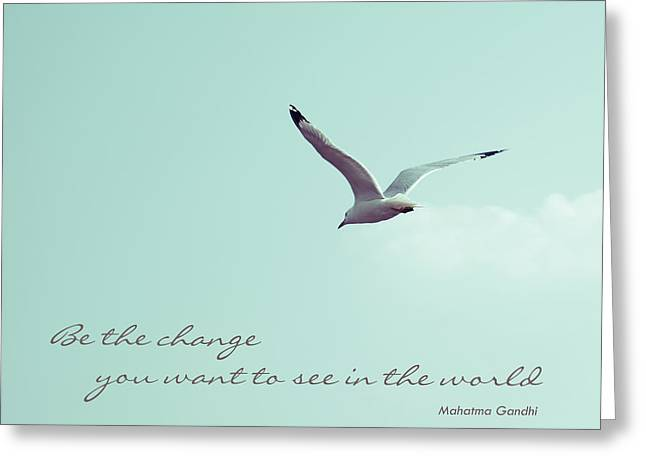 Flying Bird Greeting Cards - Be the Change You Want to See in the World Greeting Card by Aimelle