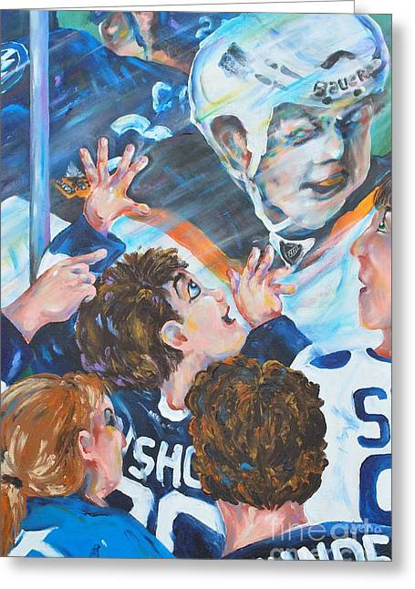 Hockey Paintings Greeting Cards - Be The Thunder Greeting Card by Dena Lowery
