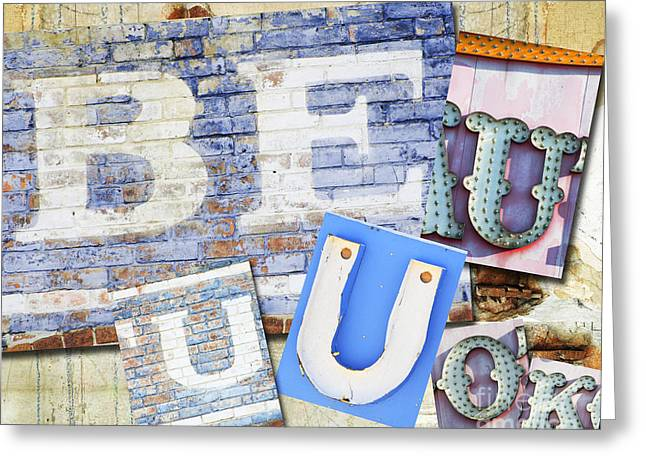 Self Love Greeting Cards - BE U Inspirational words wall art Greeting Card by AdSpice Studios
