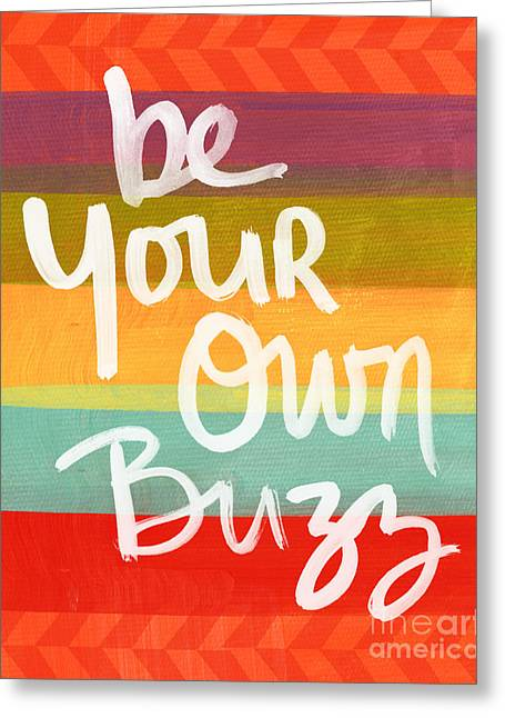 Striped Mixed Media Greeting Cards - Be Your Own Buzz Greeting Card by Linda Woods