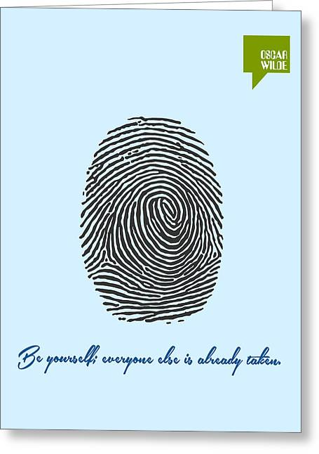 Be Yourself Greeting Cards - Be Yourself - Oscar Wilde Minimalist Quotation Poster Greeting Card by Celestial Images