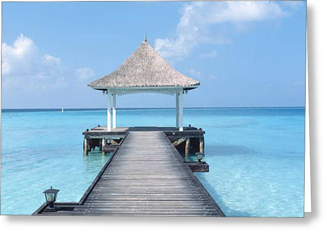 Respite Greeting Cards - Beach & Pier The Maldives Greeting Card by Panoramic Images