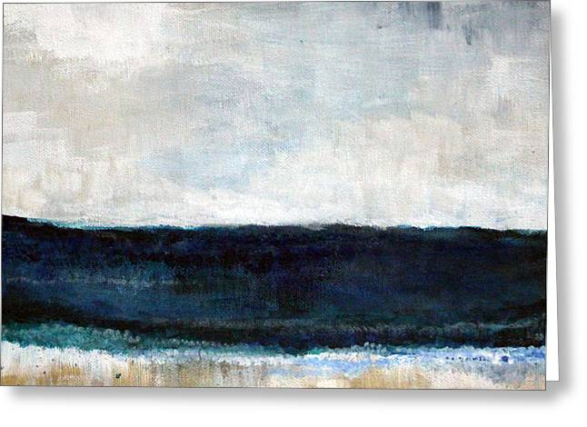Ocean Landscape Greeting Cards - Beach- abstract painting Greeting Card by Linda Woods