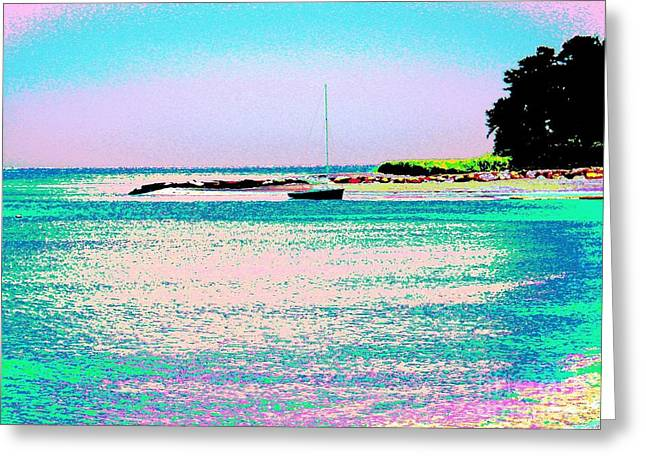 Ocean Art Photgraphy Greeting Cards - Beach And A Boat Greeting Card by Annie Zeno