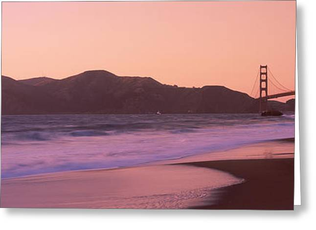 California Beach Greeting Cards - Beach And A Suspension Bridge Greeting Card by Panoramic Images