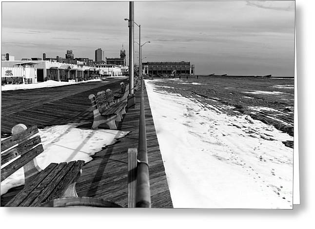 On The Beach Greeting Cards - Beach and Boardwalk mono Greeting Card by John Rizzuto