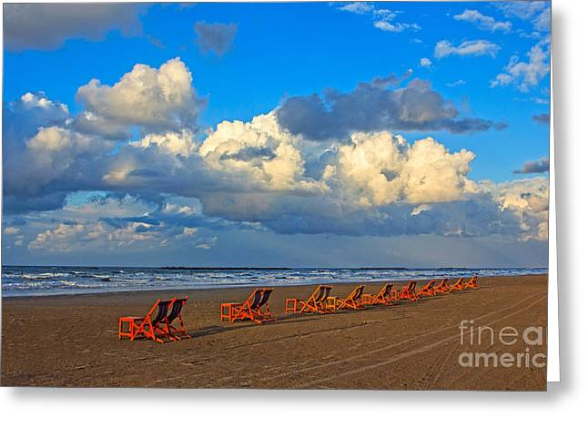 Idling Greeting Cards - Beach and chairs with cloudy sky Greeting Card by Mohamed Elkhamisy