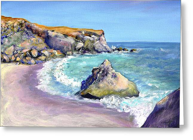 Sonoma County Paintings Greeting Cards - Beach and Cone Rock Greeting Card by Asha Carolyn Young