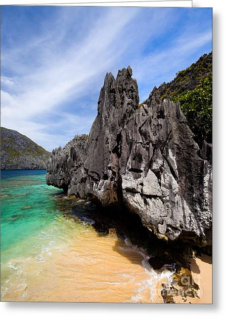 El-nido Greeting Cards - Beach and rocks  Greeting Card by Fototrav Print