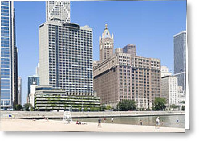 Lake Shore Drive Greeting Cards - Beach And Skyscrapers In A City, Ohio Greeting Card by Panoramic Images