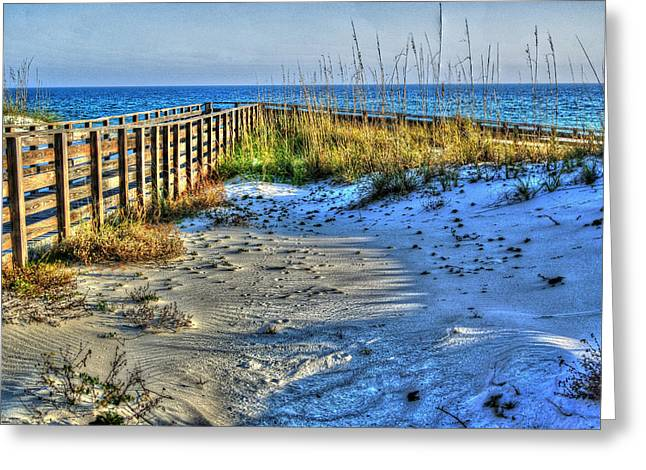 Sand Fences Digital Art Greeting Cards - Beach and the Walkway Colored Greeting Card by Michael Thomas