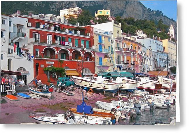 Boats At Dock Greeting Cards - Beach at Capri Italy Greeting Card by John Malone