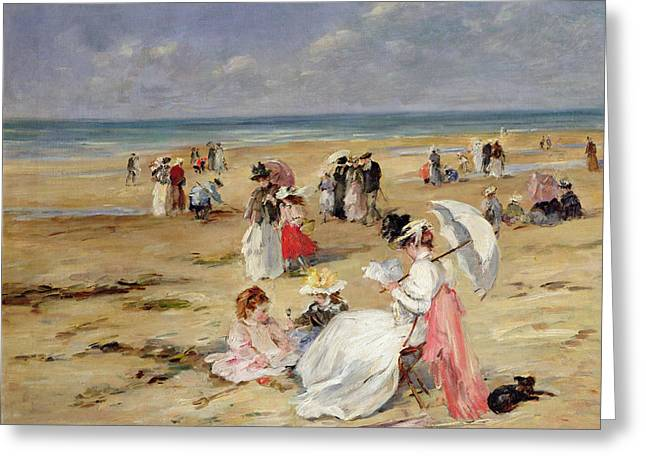 On The Beach Greeting Cards - Beach at Courseulles Greeting Card by Henri Michel-Levy