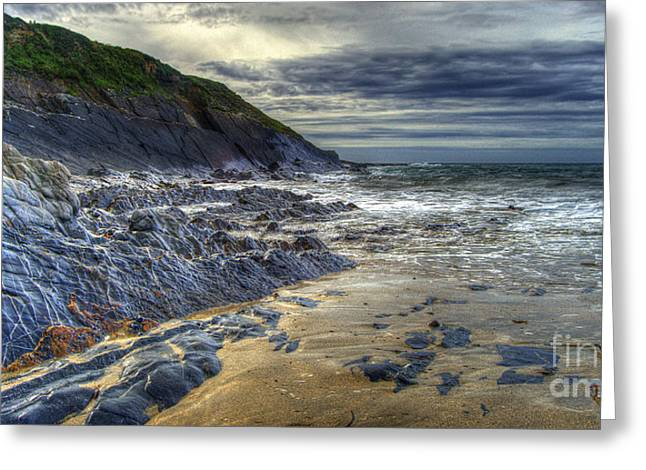 Hdr Landscape Greeting Cards - Beach at Crackington Haven  Greeting Card by Rob Hawkins