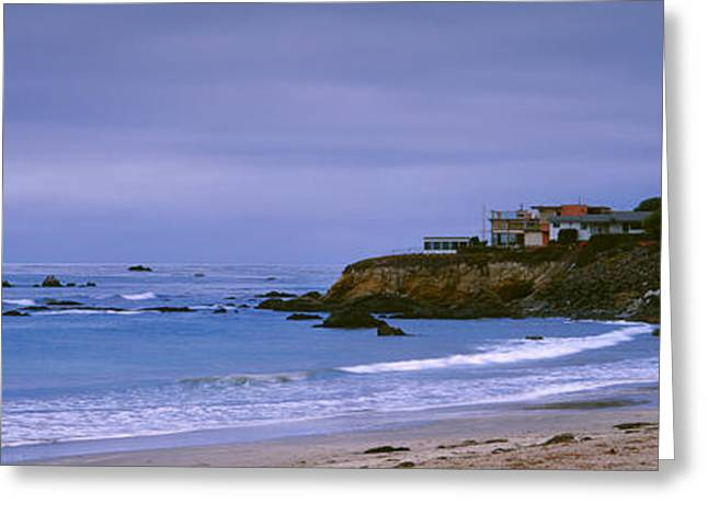 San Luis Obispo Greeting Cards - Beach At Dusk, Cayucos State Beach Greeting Card by Panoramic Images