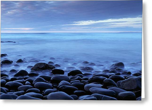 North Sea Greeting Cards - Beach At Dusk, Westward Ho, North Greeting Card by Panoramic Images