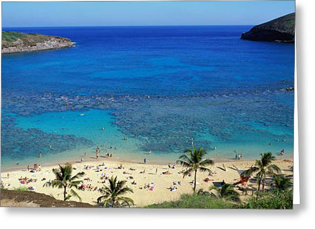 Beach Towel Greeting Cards - Beach At Hanauma Bay Oahu Hawaii Usa Greeting Card by Panoramic Images