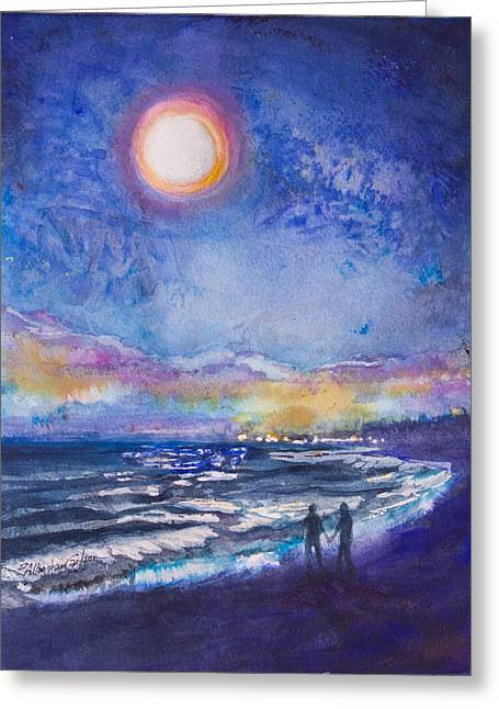 Beach At Night Greeting Cards - Beach at Night Greeting Card by Patricia Allingham Carlson