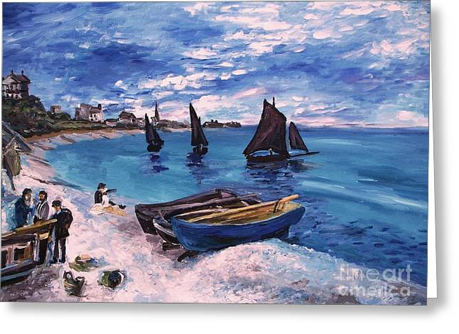 Beach At Sainte Adresse Monet Greeting Card by Eric  Schiabor