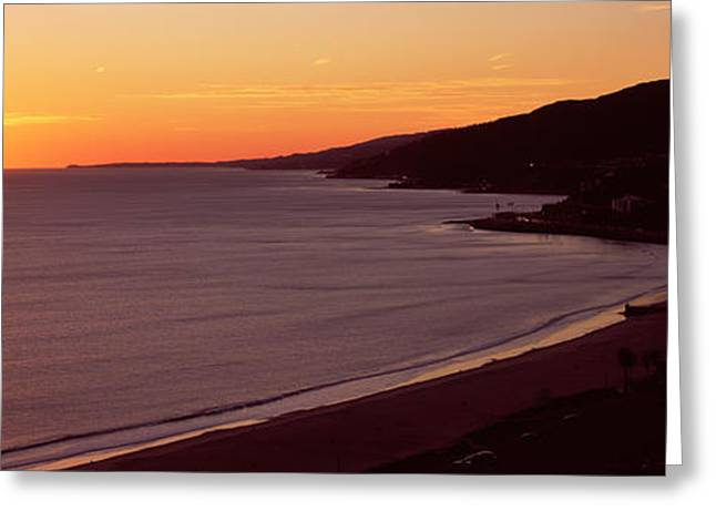 California Beach Greeting Cards - Beach At Sunset, Malibu Beach, Malibu Greeting Card by Panoramic Images