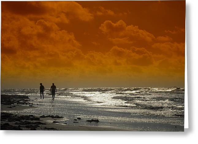 Surf Silhouette Greeting Cards - Beach at Sunset Greeting Card by Mountain Dreams