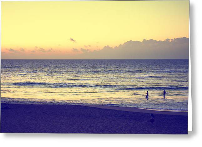 Beach At Night Digital Art Greeting Cards - Beach at Sunset Greeting Card by Susan Stone