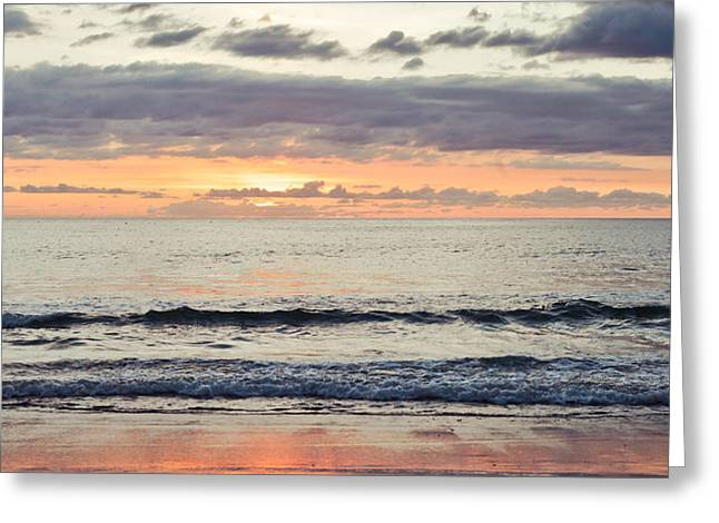 Overcast Day Greeting Cards - Beach at sunset Greeting Card by Tom Gowanlock