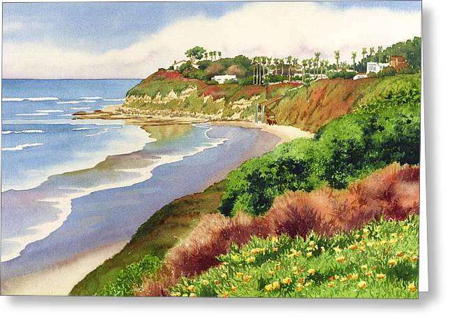 Line Paintings Greeting Cards - Beach at Swamis Encinitas Greeting Card by Mary Helmreich